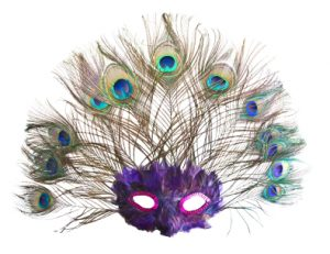 A peacock feather mask isolated on white.