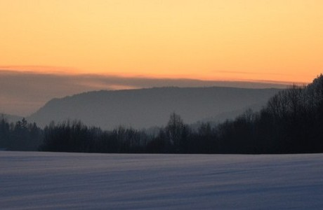 Sunset on snow