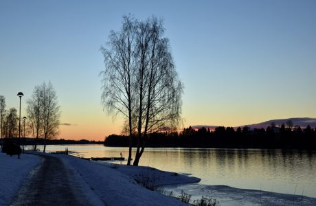Winter sunset by the river