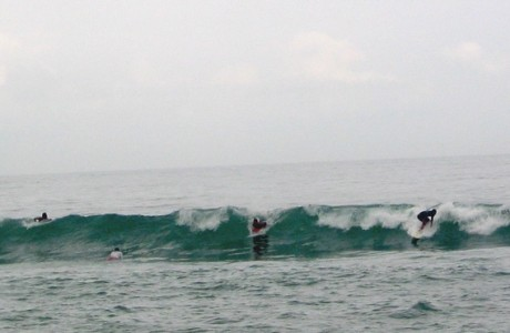 Surfers waiting for the wave